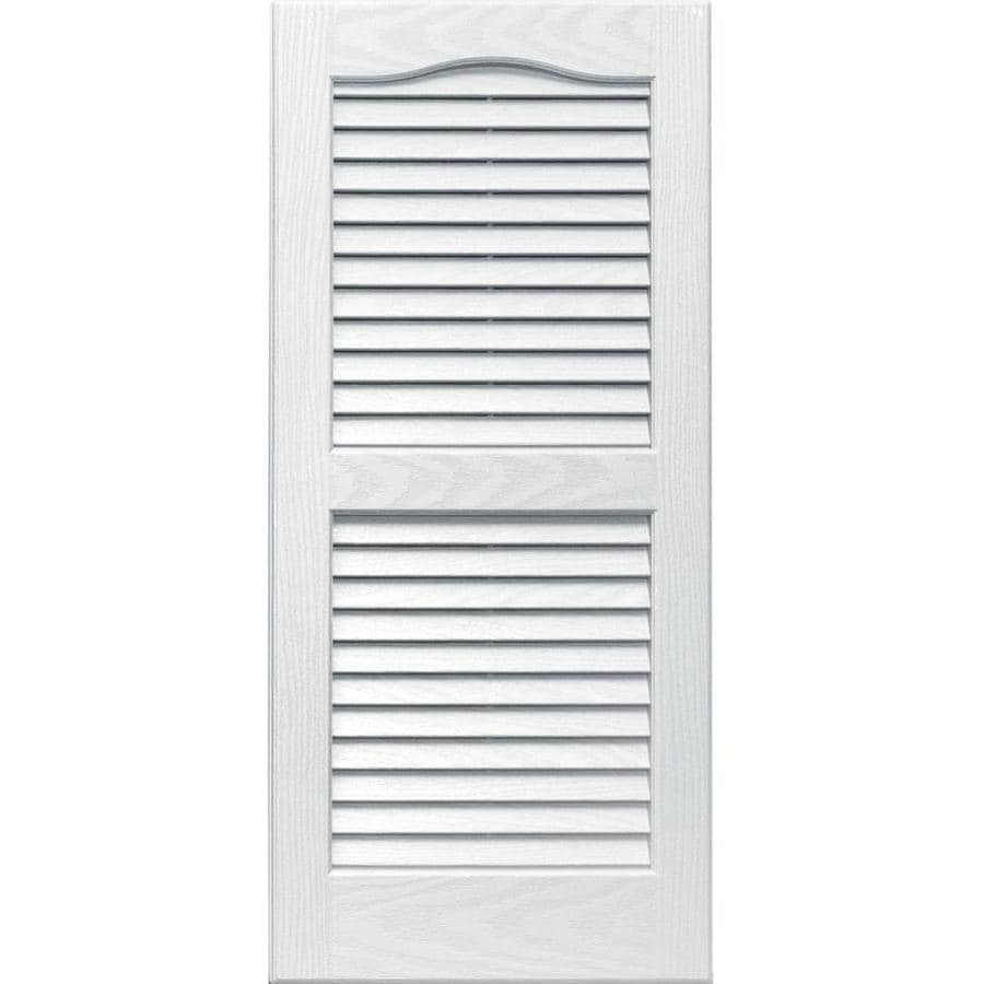 Vantage 2-Pack White Louvered Vinyl Exterior Shutters (Common: 14-in x 31-in; Actual: 13.875-in x 30.6875-in)
