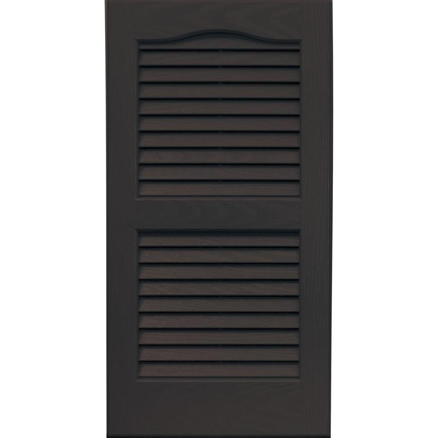 Vantage 2-Pack Chocolate Brown Louvered Vinyl Exterior Shutters (Common: 14-in x 27-in; Actual: 13.875-in x 26.6875-in)