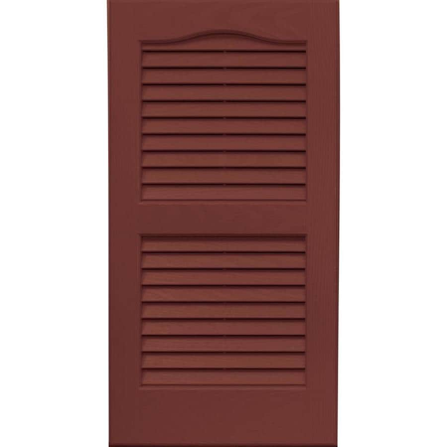 Vantage 2-Pack Cambridge Red Louvered Vinyl Exterior Shutters (Common: 14-in x 27-in; Actual: 13.875-in x 26.6875-in)