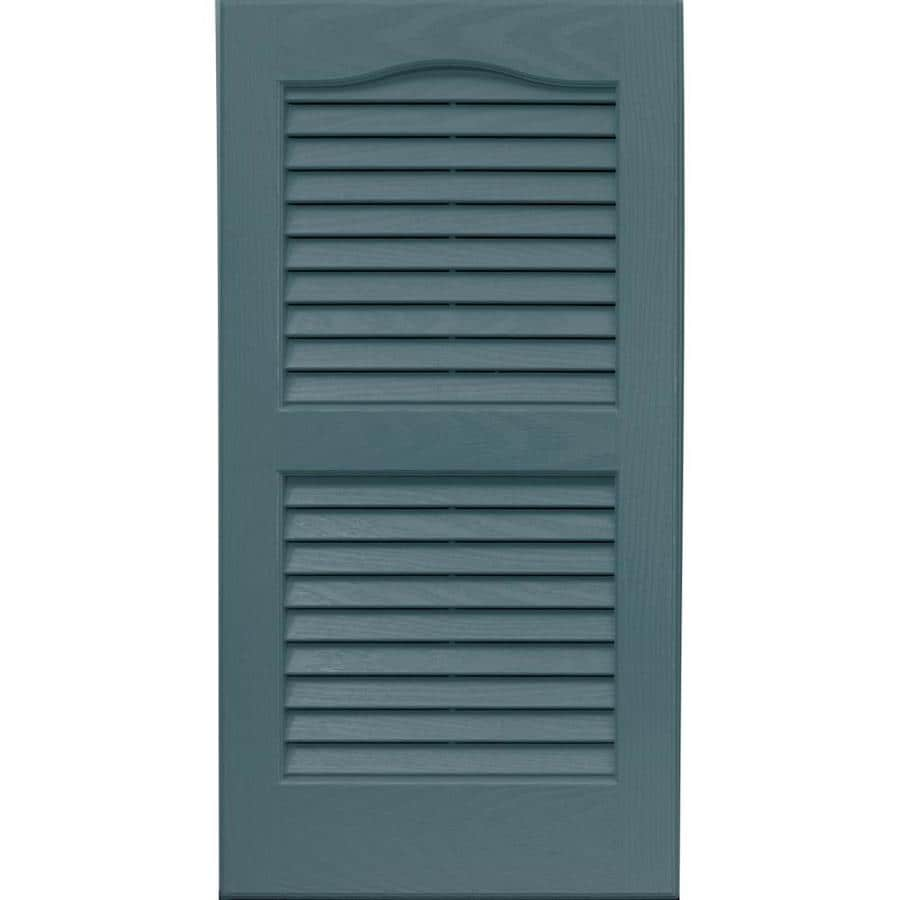 Vantage 2 Pack Wedgewood Blue Louvered Vinyl Exterior Shutters (Common:  14 In