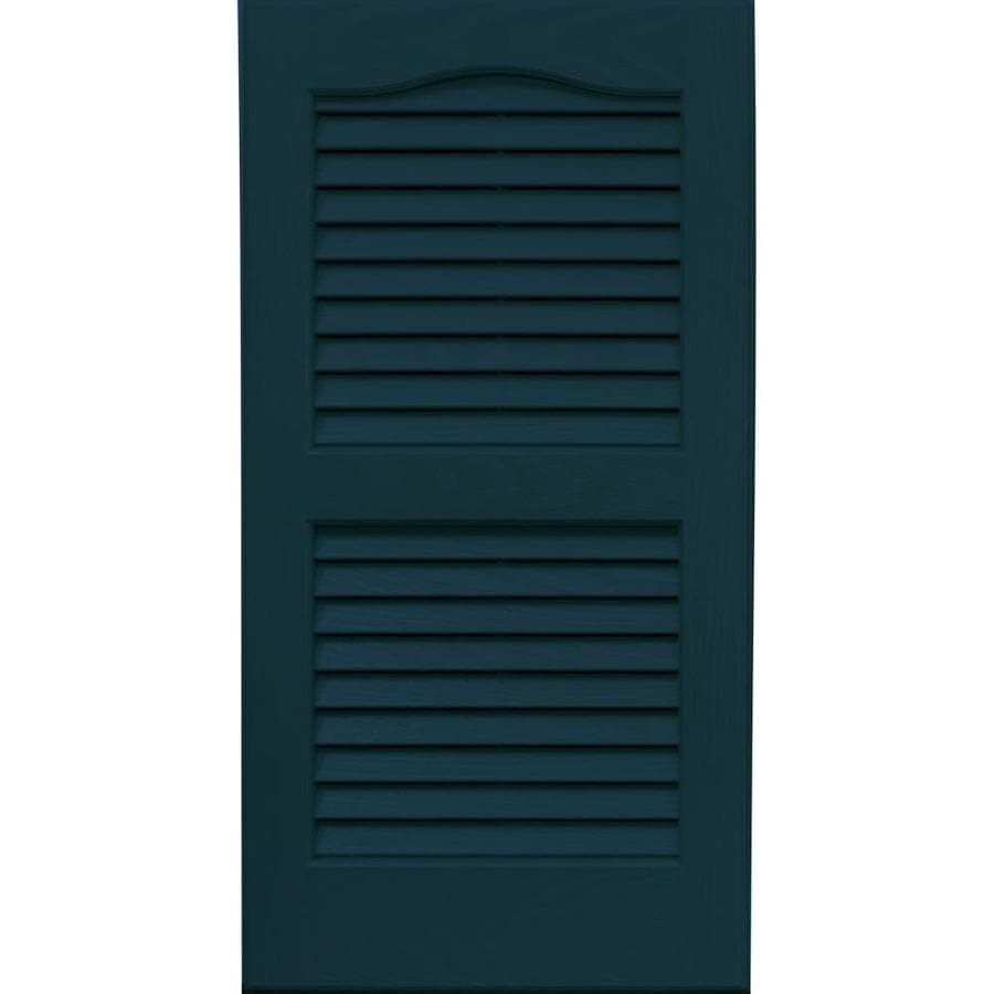 Vantage 2-Pack Indigo Blue Louvered Vinyl Exterior Shutters (Common: 14-in x 27-in; Actual: 13.875-in x 26.6875-in)