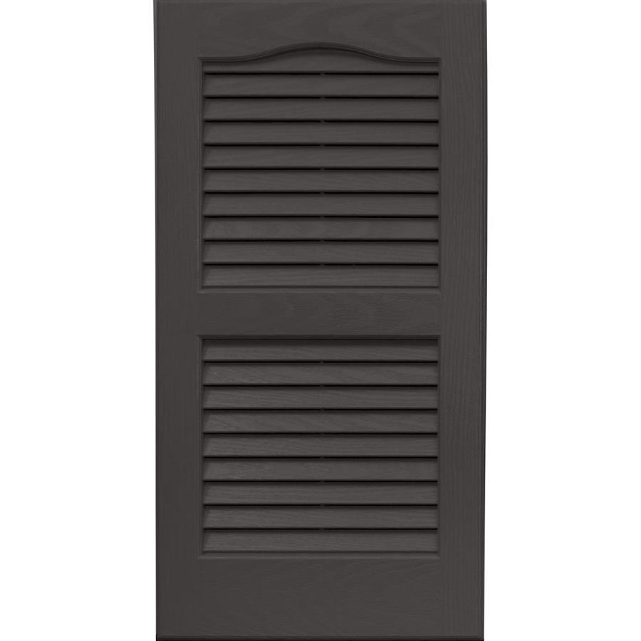 Vantage 2-Pack Charcoal Grey Louvered Vinyl Exterior Shutters (Common: 14-in x 27-in; Actual: 13.875-in x 26.6875-in)