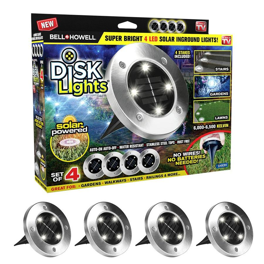 Bell Howell 4 Pack Bell And Howell Disk Lights 36x Brighter 43 2 Lumen 3 Watt Silver Stainless Steel Solar Integrated Led Path Light In The Path Lights Department At Lowes Com