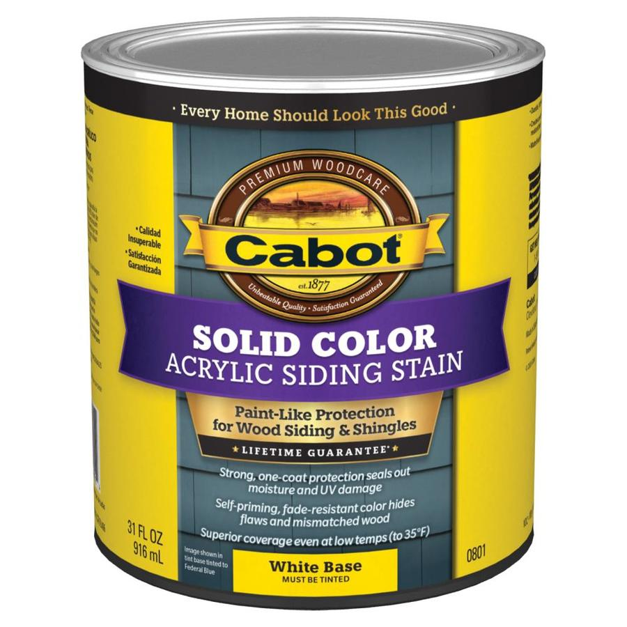 Cabot tintable white base solid exterior stain and sealer actual net contents 32 fl oz at for Lowes exterior stain and sealer