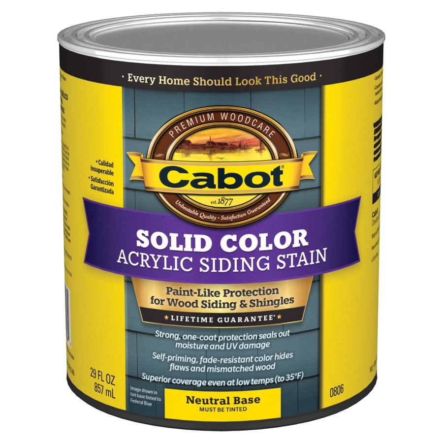 Cabot tintable neutral base solid exterior stain and sealer actual net contents 29 fl oz at for Lowes exterior stain and sealer