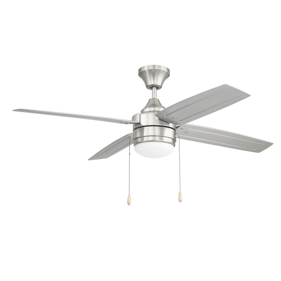 52 Ceiling Fan With Light Kit Indoor Outdoor Downrod: Litex Aikman 52-in Brushed Nickel LED Indoor/Outdoor