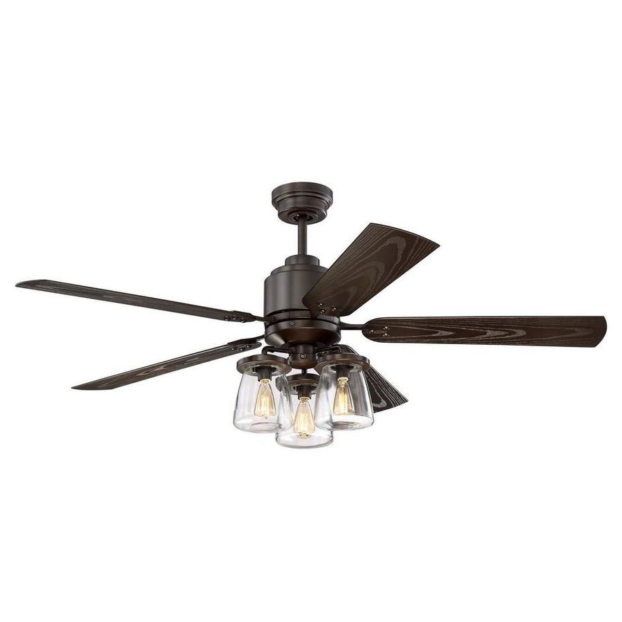 52 Ceiling Fan With Light Kit Indoor Outdoor Downrod: Litex Andrus 52-in Bronze Indoor/Outdoor Downrod Ceiling