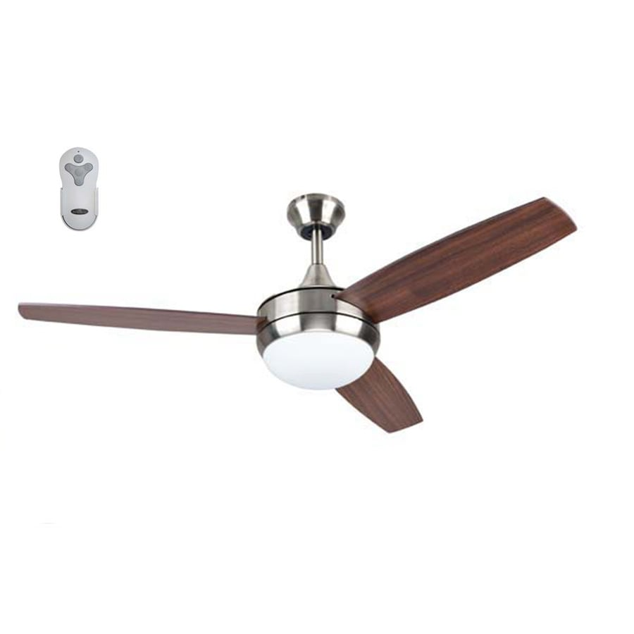 Harbor Breeze Beach Creek Brushed Nickel 52 In Led Indoor Ceiling Fan 3 Blade In The Ceiling Fans Department At Lowes Com