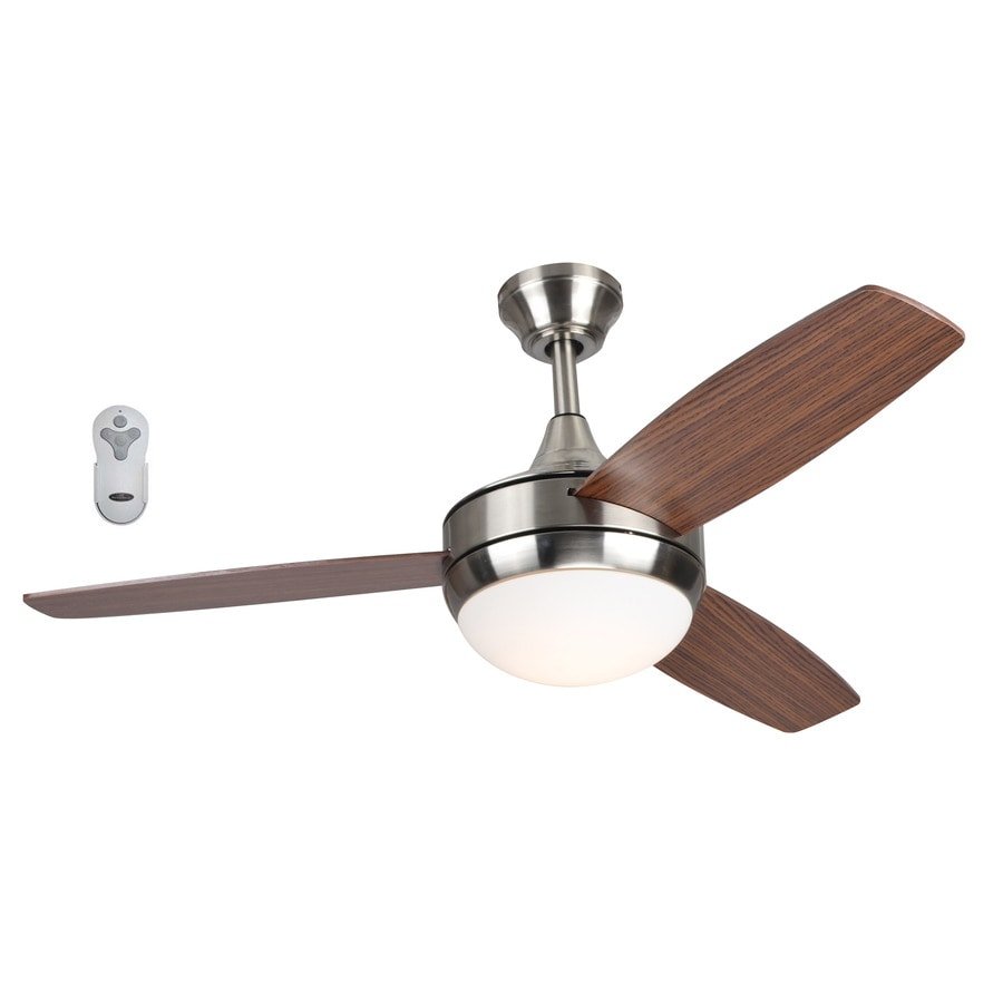 harbor breeze beach creek 44 in brushed nickel led indoor ceiling fan with light kit and remote. Black Bedroom Furniture Sets. Home Design Ideas
