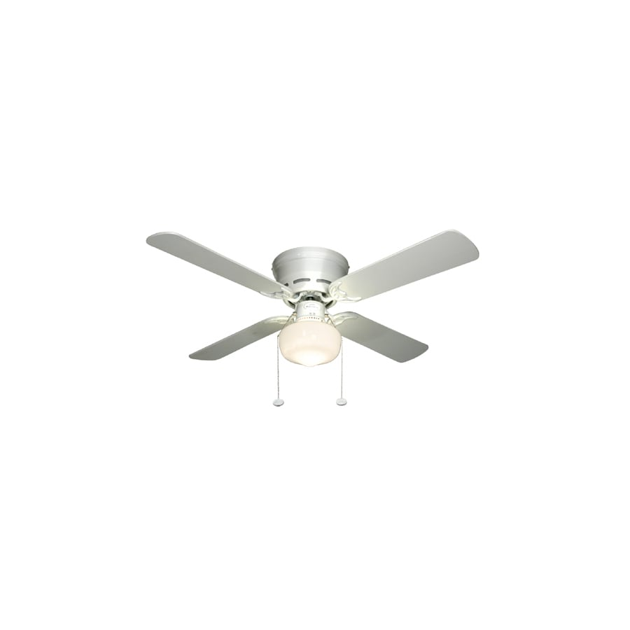 Harbor Breeze Armitage 42-in White Indoor Flush Mount Ceiling Fan with Light Kit (4-Blade)