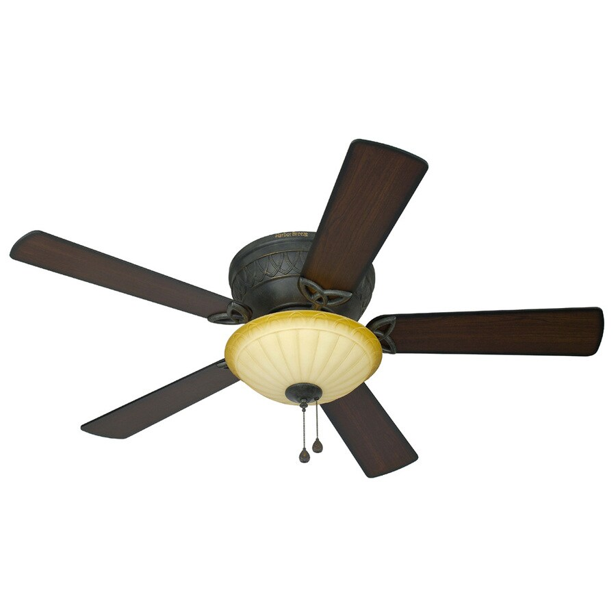 Harbor Breeze Asheville 52-in Burnished Bronze Flush Mount Indoor Ceiling Fan with Light Kit
