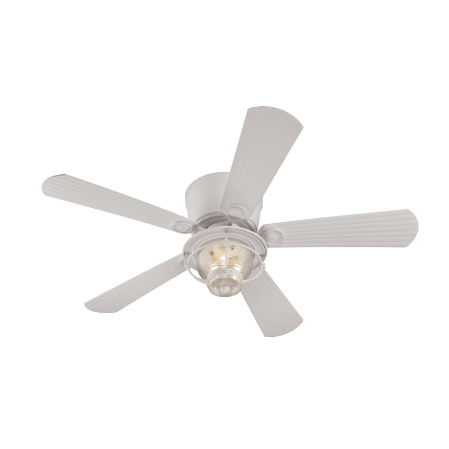 Harbor Breeze Merrimack 52-in White Indoor/Outdoor Flush Mount Ceiling Fan with Light Kit and Remote