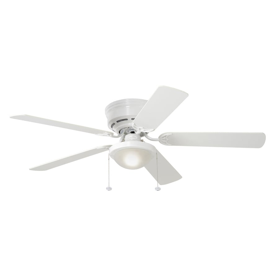 Harbor Breeze Armitage 52 In White Indoor Flush Mount Ceiling Fan With Light  Kit