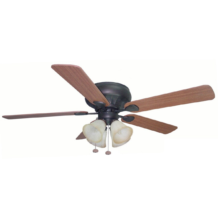 Harbor Breeze Newhaven 52-in Indoor Flush Mount Ceiling Fan with Light Kit