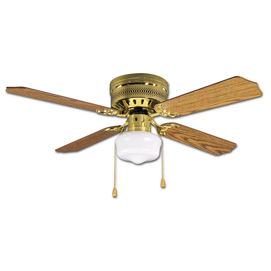 Litex Celeste 42-in Polished Brass Flush Mount Indoor Ceiling Fan with Light Kit (4-Blade)
