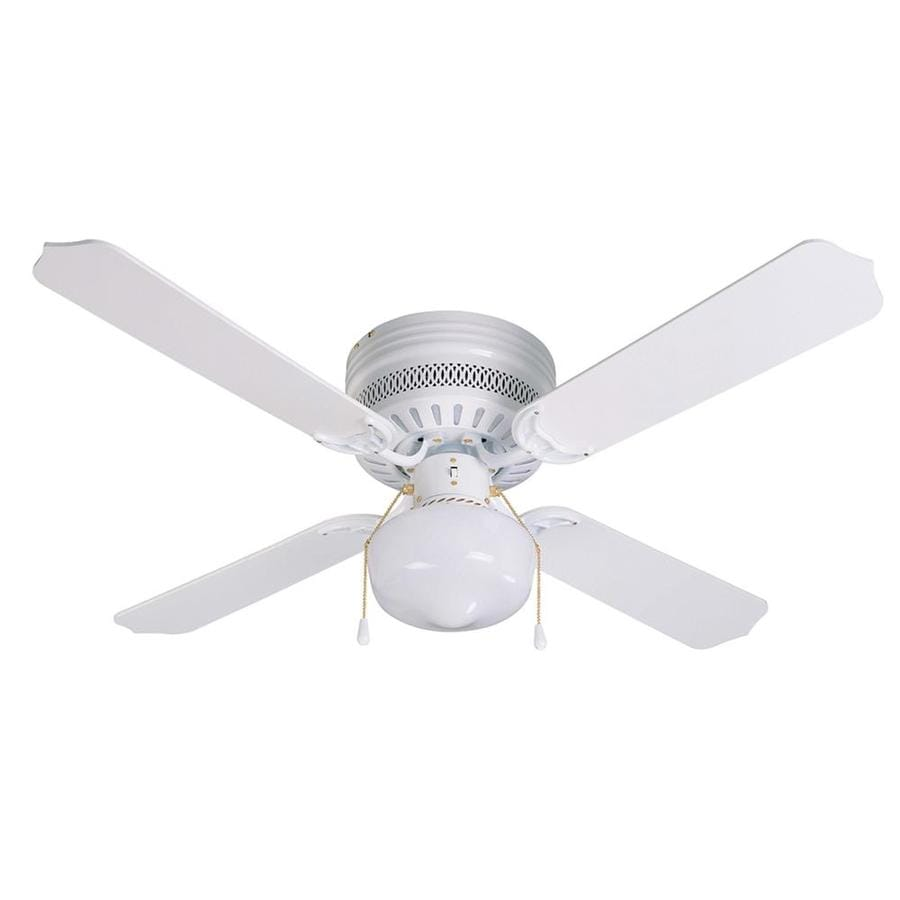 Litex Celeste Hugger 42-in White Flush Mount Indoor Ceiling Fan with Light Kit (4-Blade)