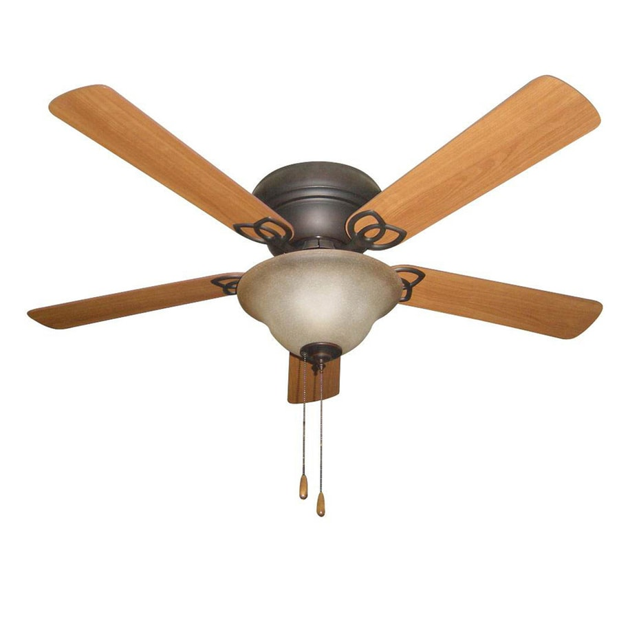 Ceiling Fans Mount: Litex 52-in Aged Bronze Flush Mount Indoor Ceiling Fan