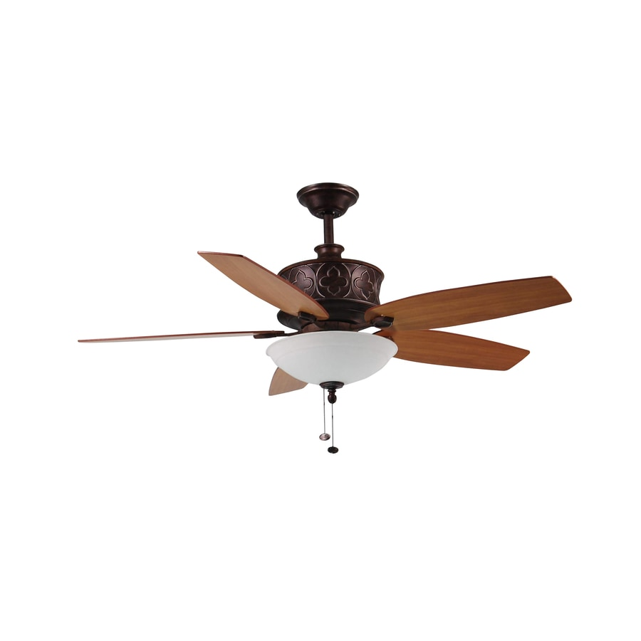 Litex 52-in Silverleaf Bronze Downrod Mount Indoor Ceiling Fan with Light Kit