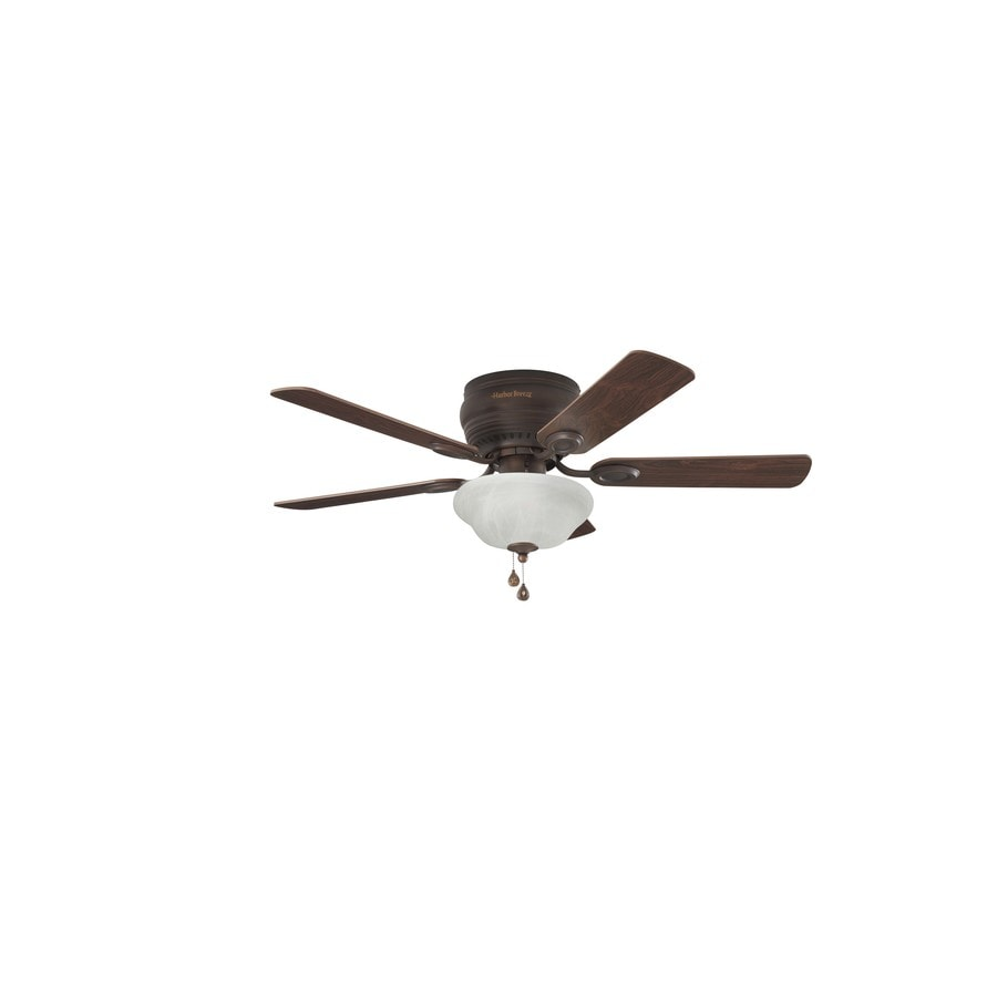 Harbor Breeze Mayfield 44 In Bronze Led Indoor Flush Mount Ceiling Fan With Light Kit 5 Blade