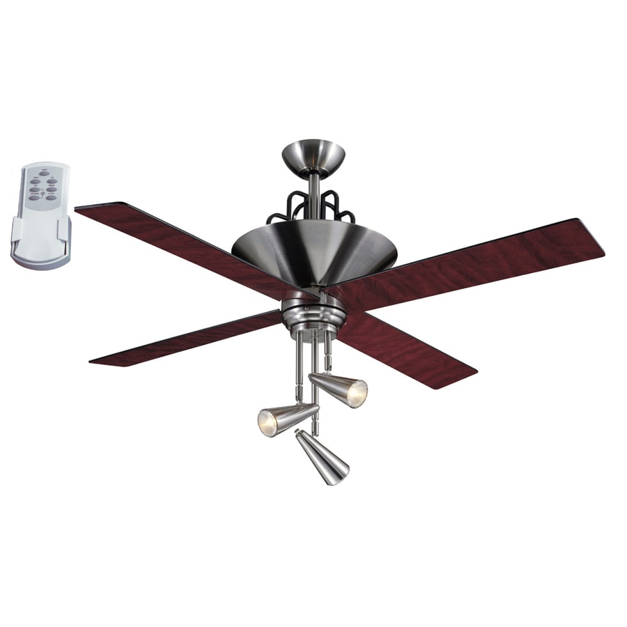 Harbor Breeze Galileo 52 In Brushed Chrome Downrod Mount Ceiling Fan With Light Kit And Remote 4 Blade