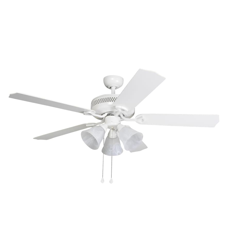 Harbor Breeze Barnstaple Bay 52-in White Downrod Mount Indoor Residential Ceiling Fan with Light Kit