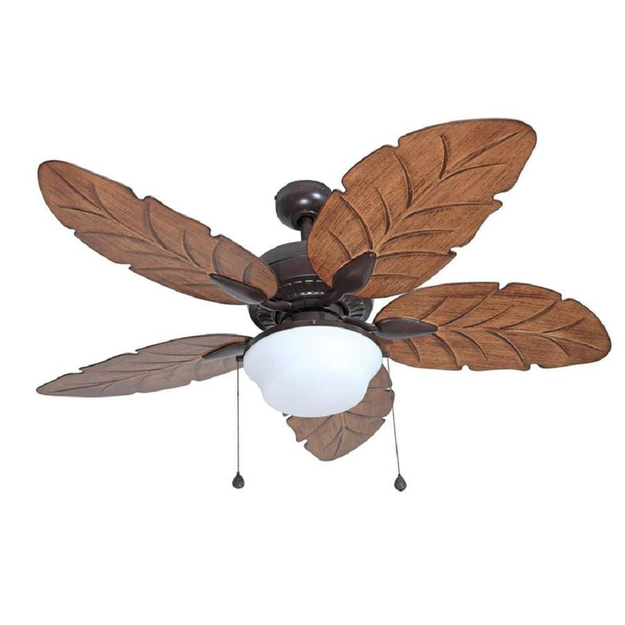 Harbor Breeze Waveport 52-in Weathered Bronze Downrod Mount Indoor/Outdoor Residential Ceiling Fan with Light Kit