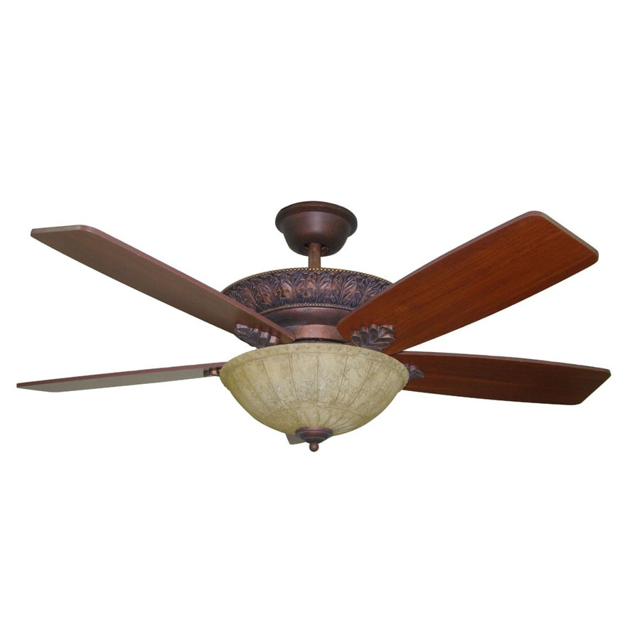 Harbor Breeze Lorina 52-in Old World Bronze Downrod Mount Indoor Ceiling Fan with Light Kit