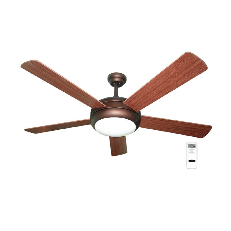 Harbor Breeze Aero 52-in Bronze Downrod Mount Indoor Ceiling Fan with Light Kit and Remote