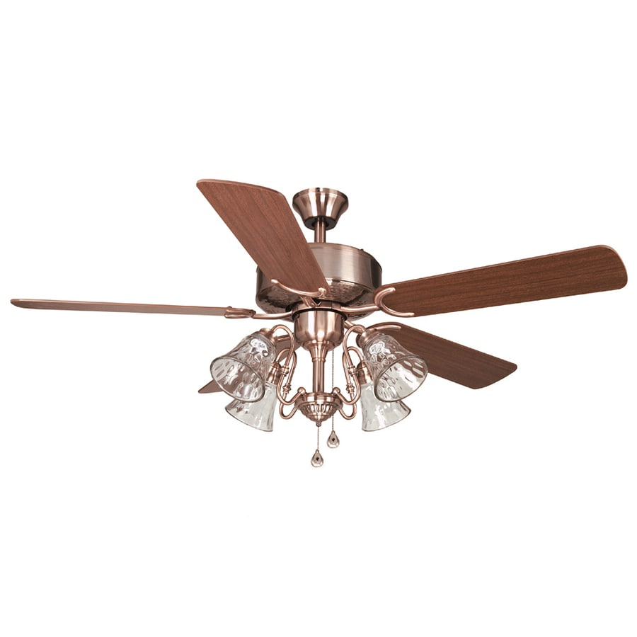 Harbor Breeze Dubois 52-in Brushed Copper Indoor Downrod or Flush Mount Ceiling Fan with Light Kit