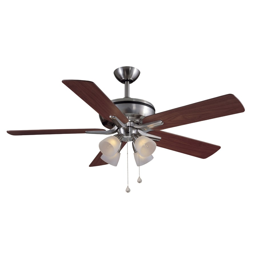 Harbor Breeze Tiempo 52-in Brushed Nickel Downrod Mount Ceiling Fan with Light Kit