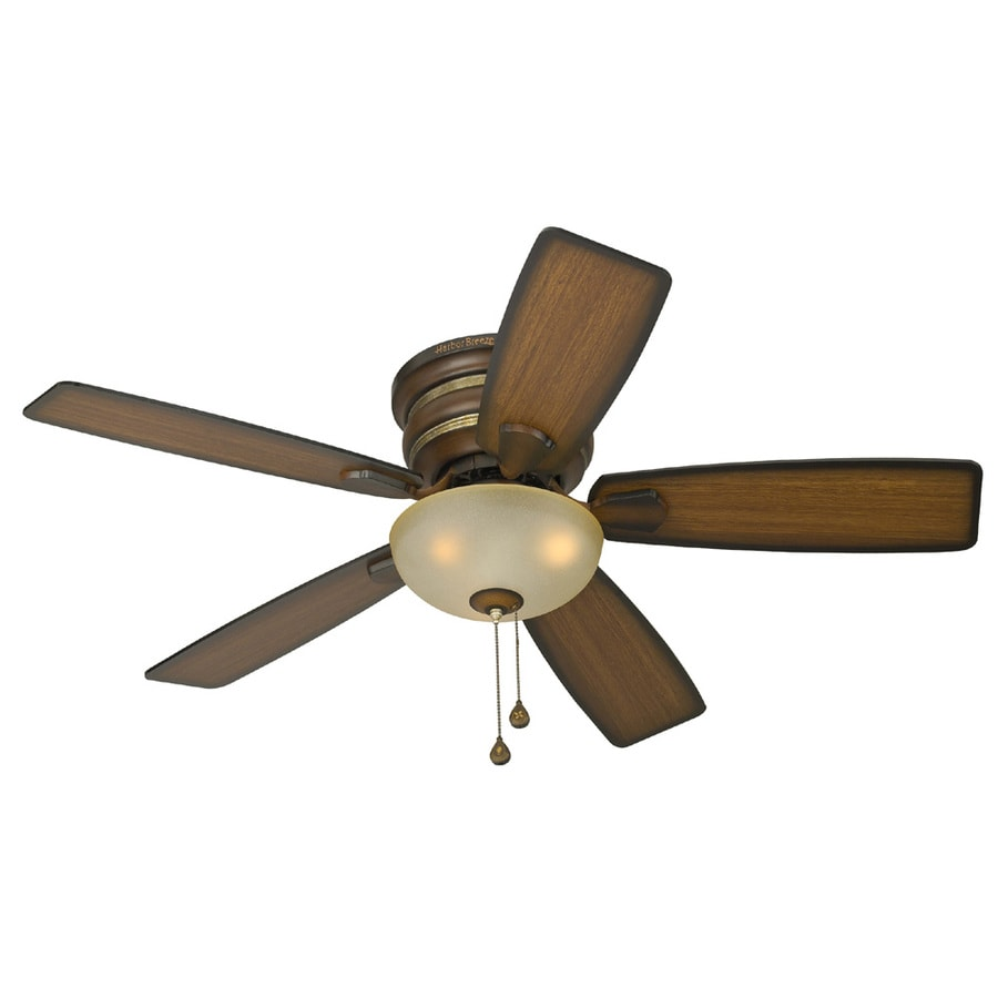 Harbor Breeze Cedar Hill 44-in Walnut Flush Mount Indoor Ceiling Fan with Light Kit