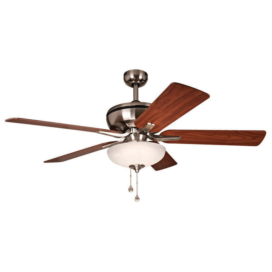 Harbor Breeze 1 Count-Pack Eco Breeze 52-in Brushed Nickel Downrod Mount Indoor Ceiling Fan with LED Light Kit
