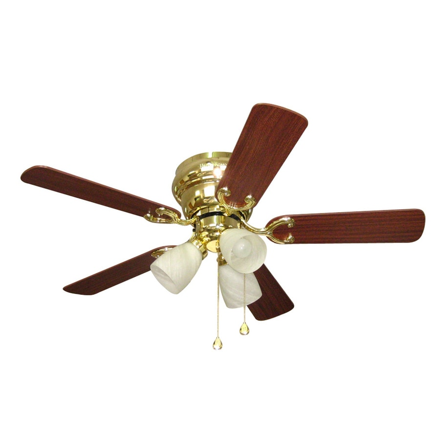 Shop Harbor Breeze Cheshire Ii 42-in Polished Brass Flush Mount Indoor Ceiling Fan with Light ...