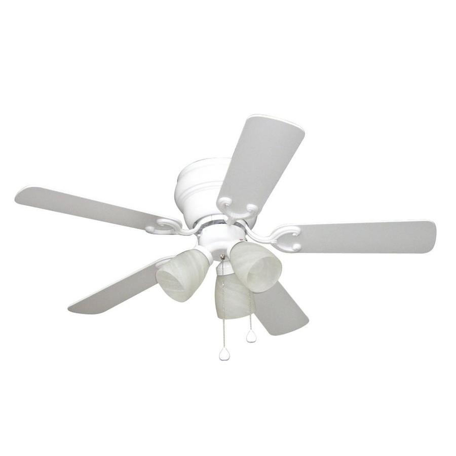 Harbor Breeze Cheshire II 42-in White Flush Mount Indoor Residential Ceiling Fan with Light Kit