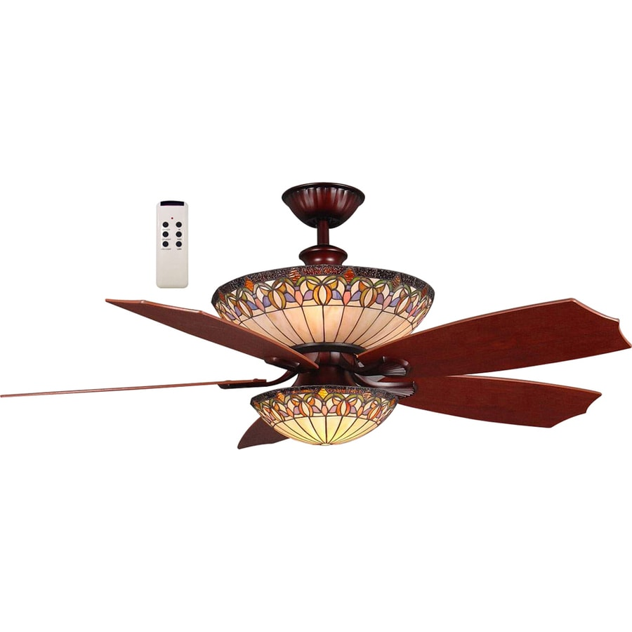 harbor breeze montclair 54in rustic bronze downrod mount ceiling fan with light kit and