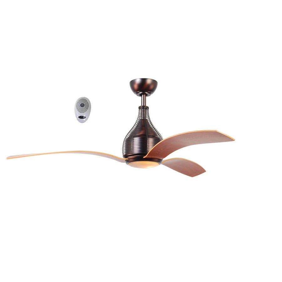 Harbor Breeze Monte Bello 56-in Bronze Downrod Mount Indoor Ceiling Fan with Light Kit and Remote (3-Blade)