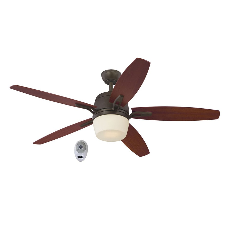 Harbor Breeze Battler 52-in Bronze Downrod Mount Indoor Ceiling Fan with Integrated Light Kit and Remote