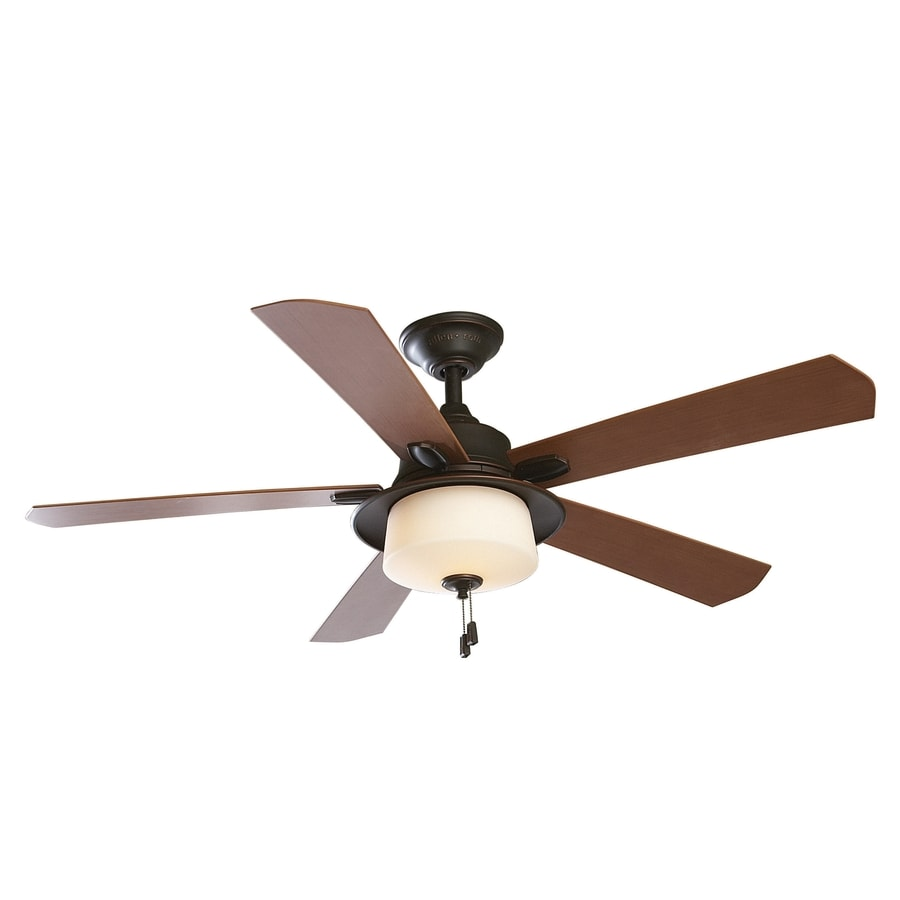 allen + roth Sawgrass 52-in Bronze Downrod Mount Indoor/Outdoor Ceiling Fan with Light Kit