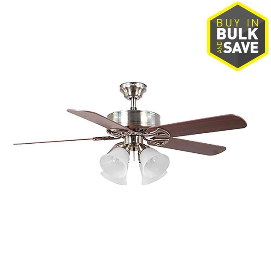 Harbor Breeze Springfield II 52-in Brushed Nickel Indoor Downrod Or Close Mount Ceiling Fan with Light Kit