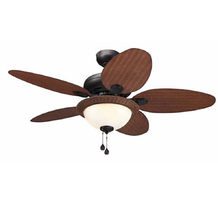 Litex Tilghman 44-in Bronze Downrod Or Close Mount Indoor/Outdoor Ceiling Fan with Light Kit