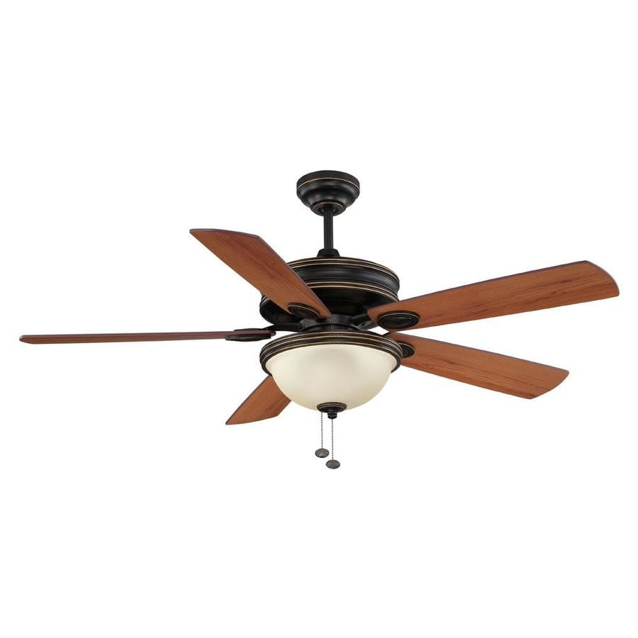 Litex 52-in Bronze Indoor Downrod Mount Ceiling Fan with Light Kit
