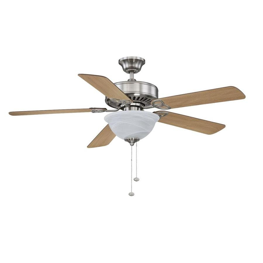 Litex 52-in Brushed Nickel Indoor Downrod Or Close Mount Ceiling Fan with Light Kit