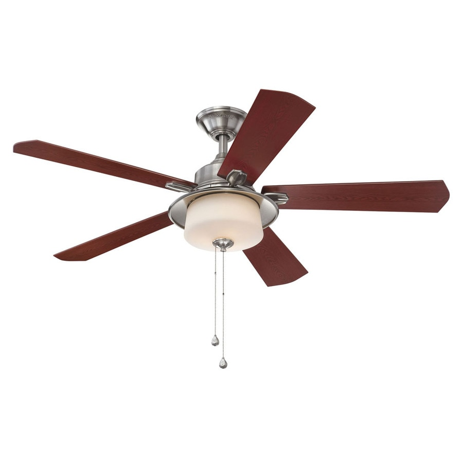 Litex 52-in Brushed Nickel Indoor Downrod Mount Ceiling Fan with Light Kit
