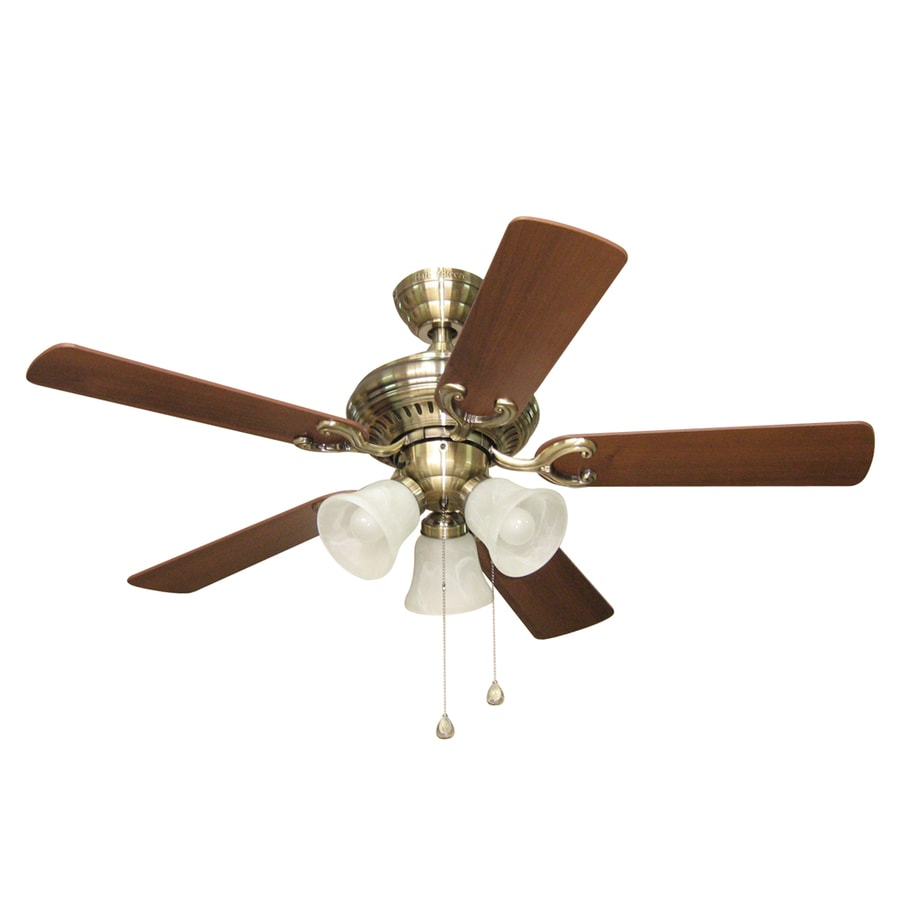 Harbor Breeze Bellevue 44-in Antique Brass Downrod or Close Mount Indoor Residential Ceiling Fan with Light Kit