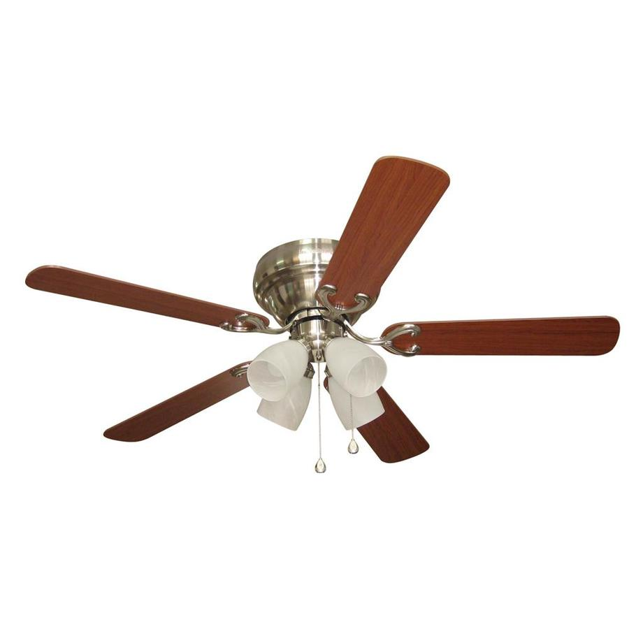 Harbor Breeze Cheshire II 52-in Brushed Nickel Flush Mount Indoor Ceiling Fan with Light Kit