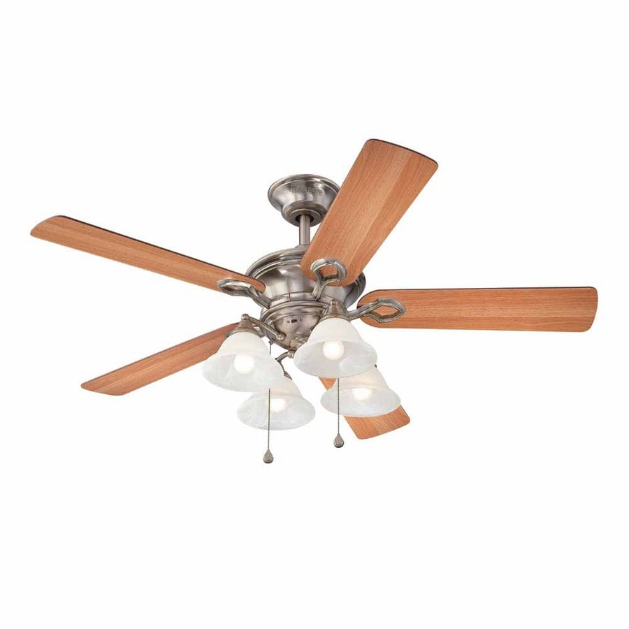 Harbor Breeze Bellhaven II 52-in Vintage Pewter Downrod Mount Indoor Ceiling Fan with Light Kit