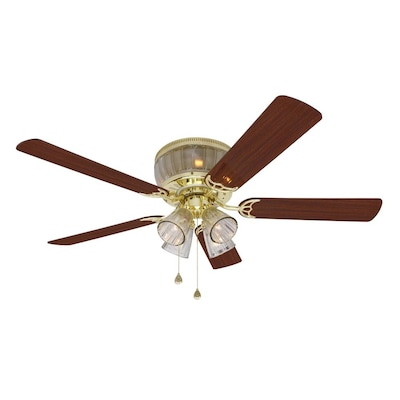Wolcott 52-in Polished Br Flush Mount Ceiling Fan with Light Kit on
