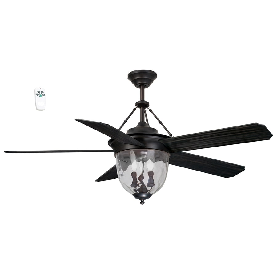 Litex 52-in Antique Bronze Indoor/Outdoor Downrod Mount Ceiling Fan with Light Kit and Remote