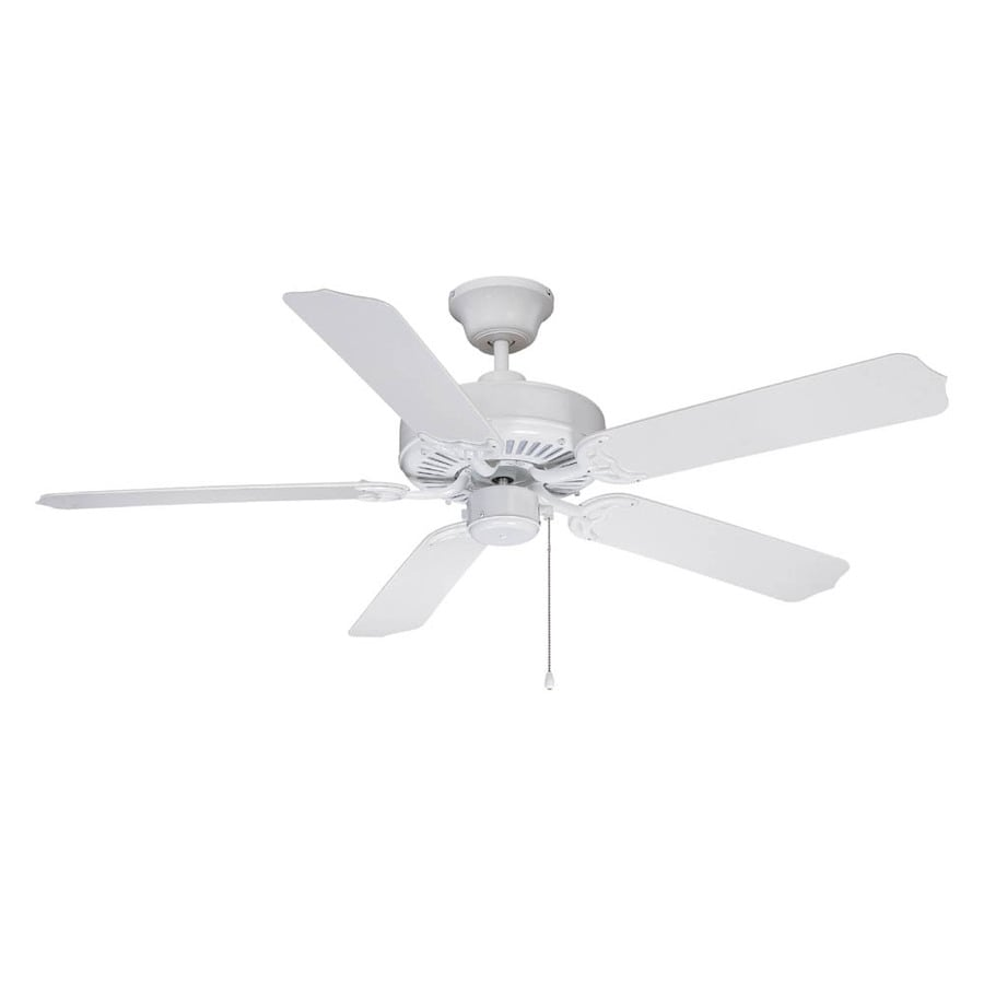 Litex All Weather 52-in White Outdoor Downrod or Flush Mount Ceiling Fan