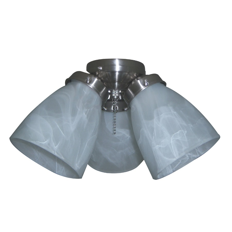 Shop Harbor Breeze 3 Light Brushed Nickel Ceiling Fan Light Kit With Cone Shade At